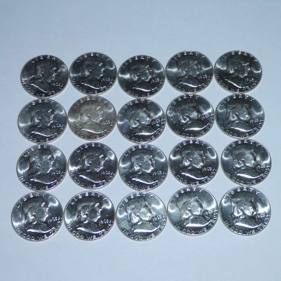 Lot # 25 - 1963 Franklin Silver Half Dollars (20) - Excellent Quality (main image)
