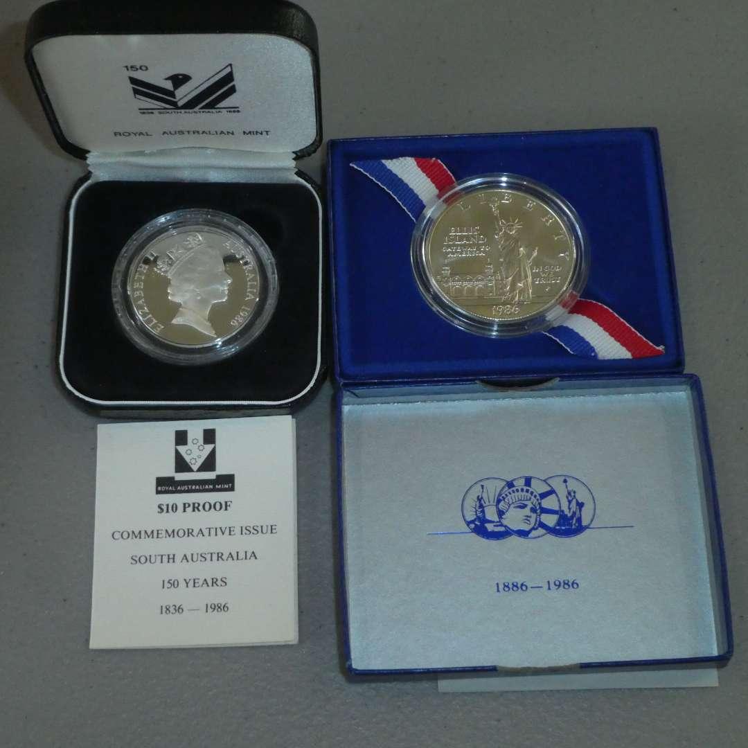 Lot # 27 - 1986 Royal Australian Mint - $10 Silver Proof -Commemorative w/ Case & Cert, 1986 US Mint -Liberty Silver Dollar Coin (main image)