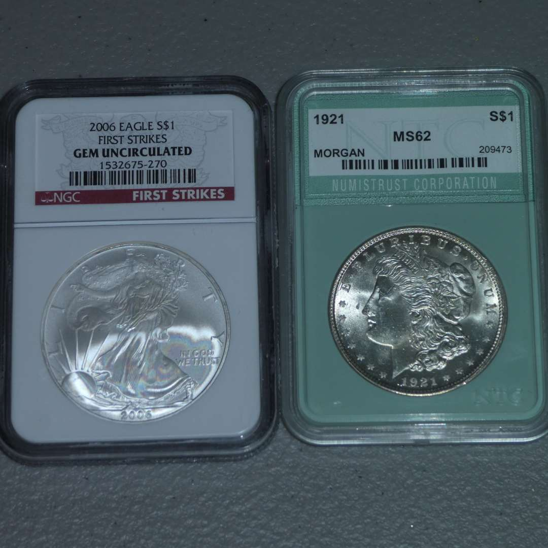 Lot # 29 -2006 US Mint - Eagle Strike Liberty $1 Silver Coin-NGC Certified w/ Case, 1921 US Mint-Morgan Dollar-NTC Cert MS 62 (main image)
