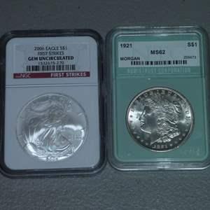 Lot # 29 -2006 US Mint - Eagle Strike Liberty $1 Silver Coin-NGC Certified w/ Case, 1921 US Mint-Morgan Dollar-NTC Cert MS 62