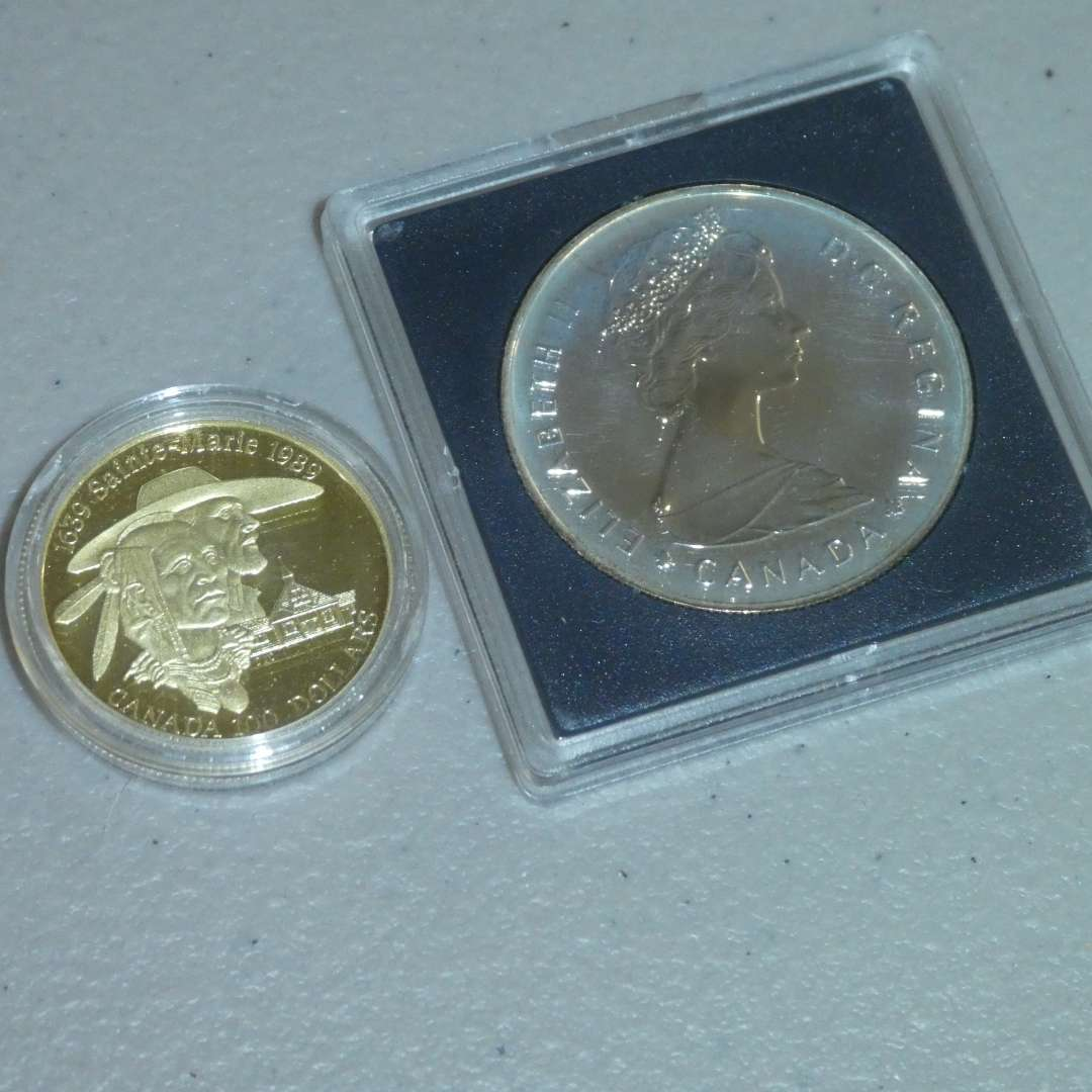 Lot # 31 - 1989 Royal Canadian -$100 Gold Coin-1639 Sainte Marie , 1985 Royal Canadian Mint Silver Dollar (See Full Description) (main image)