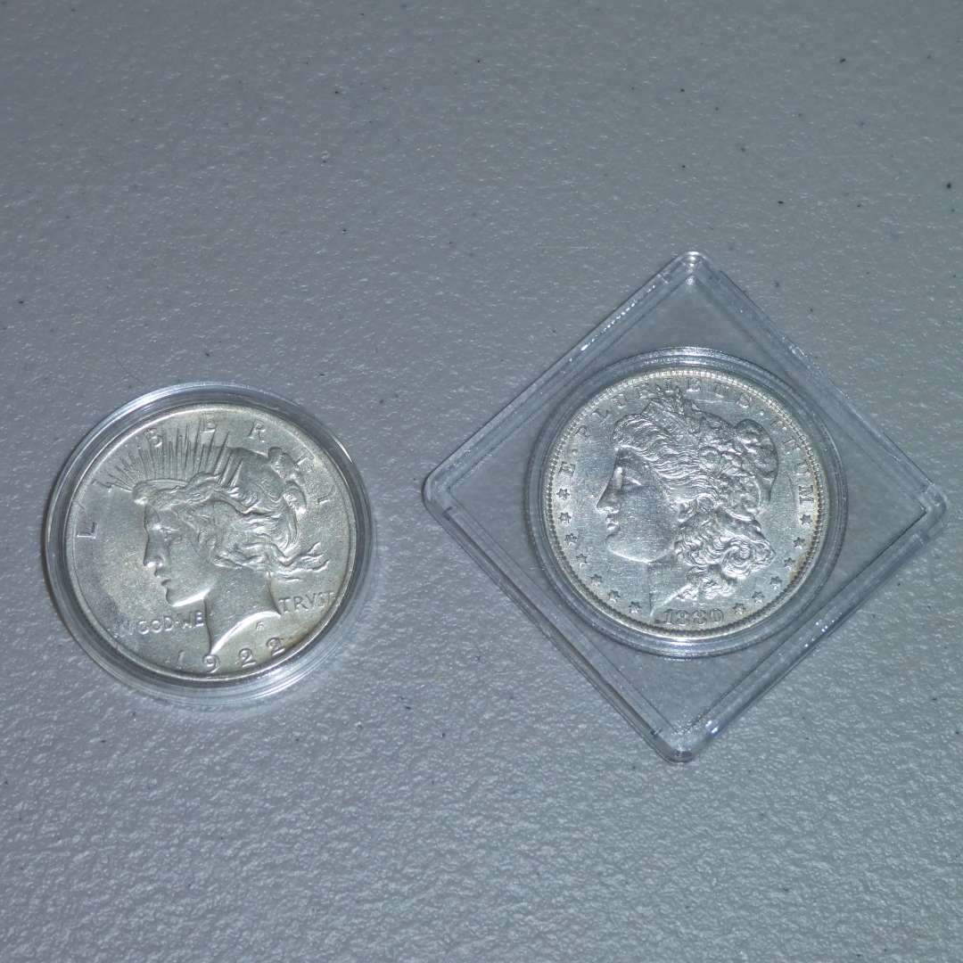"Lot # 32 -1880-O US Mint - Morgan Dollar - Great Detail,1922 US Mint - Liberty Peace Silver Dollar ""IN GOD WE TRVST"" (main image)"