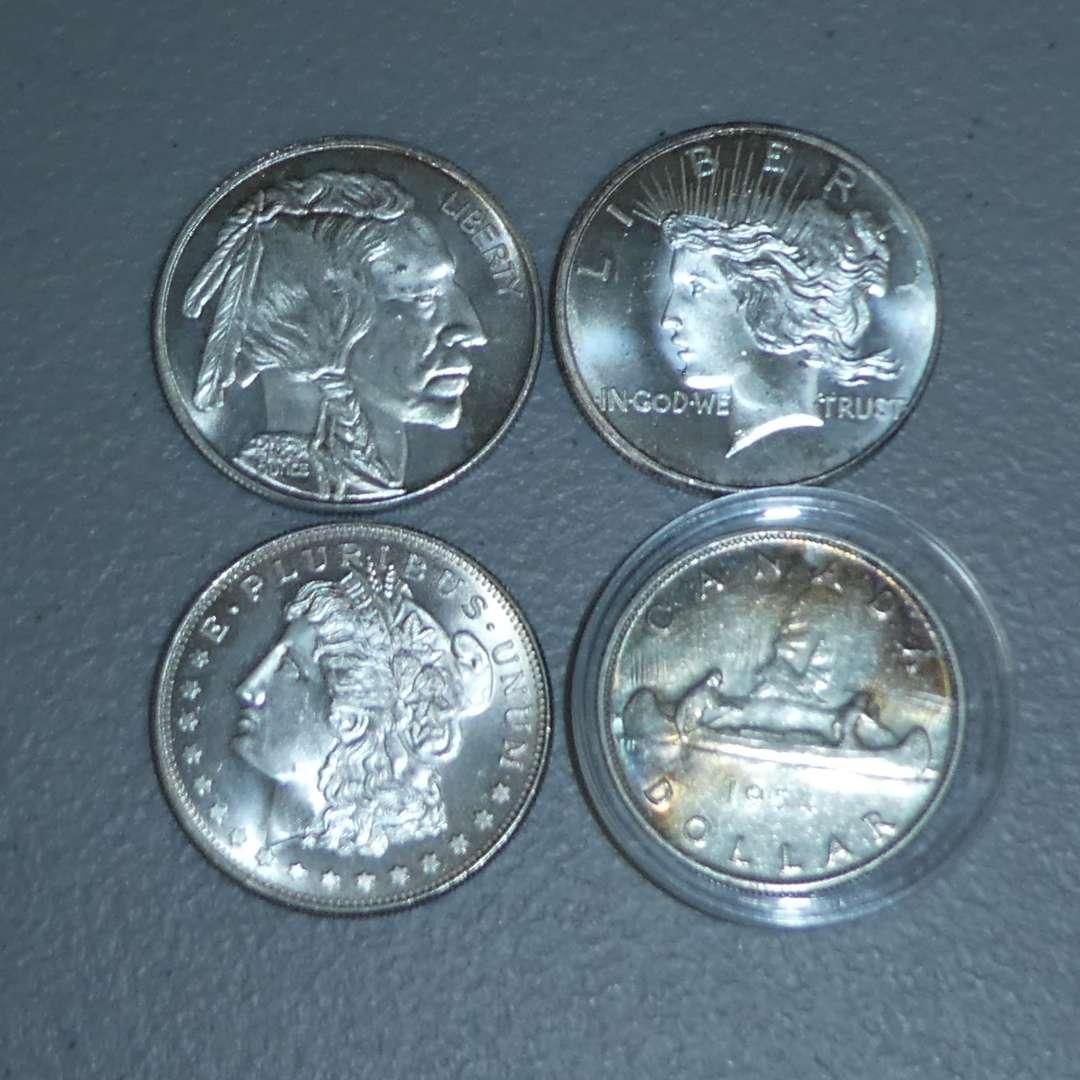 Lot # 34 -1954 Royal Canadian - Silver Dollar & Three (3) 1oz Silver Coins (main image)