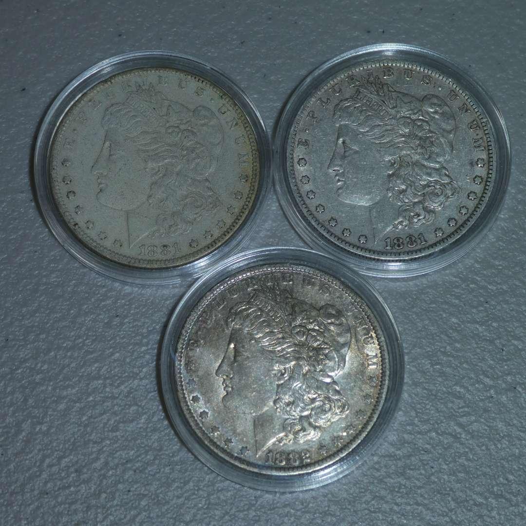 Lot # 35 -1881-O, 1881-O and 1882-O US Mint - Morgan Dollars (main image)
