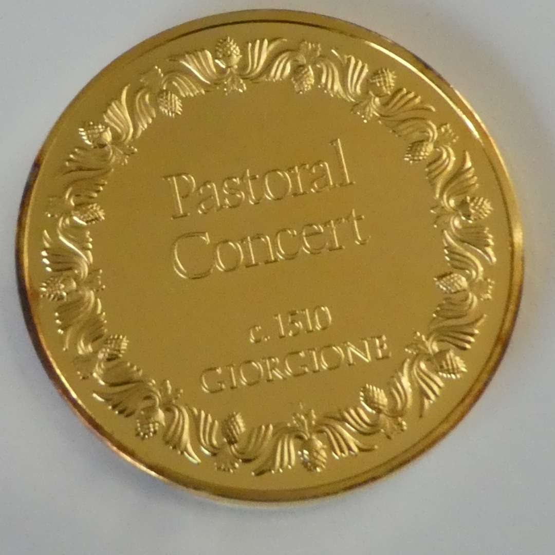 """Lot # 37 -""""100 Greatest Masterpieces"""" Pastoral Concert c.1510 Coin 24kt on Sterling - Engraved on Side (main image)"""