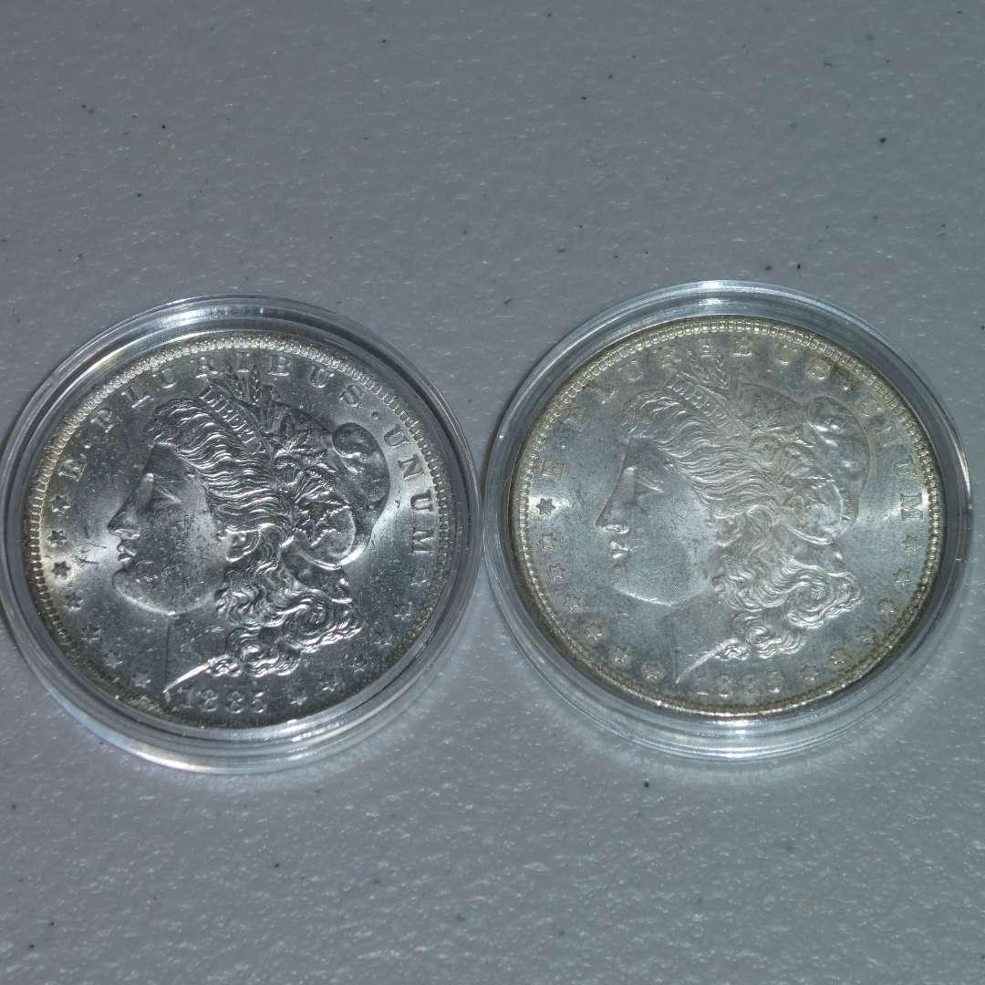 Lot # 41 -1885 and 1885-O Morgan Silver Dollars (main image)