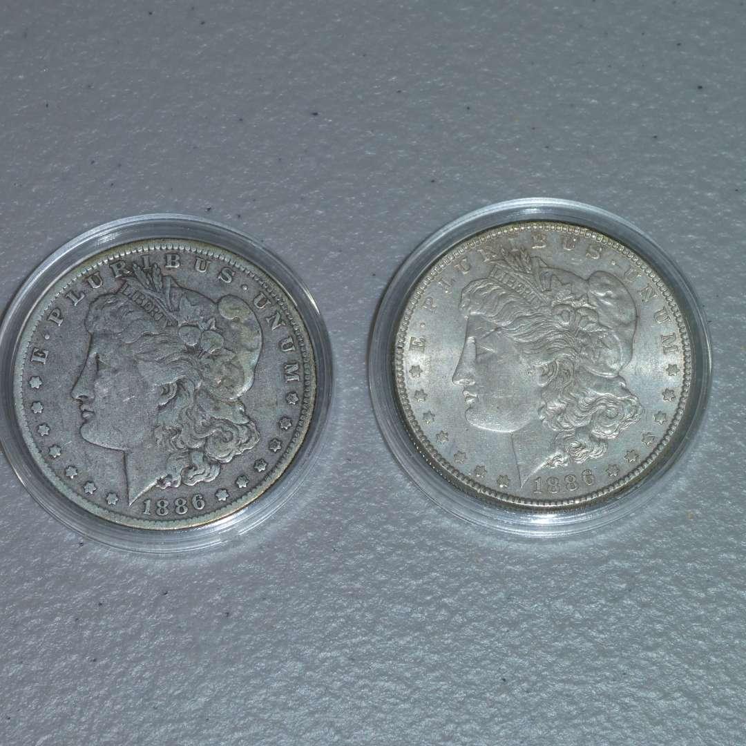 Lot # 42 -1886 and 1886-O Morgan Silver Dollars (main image)
