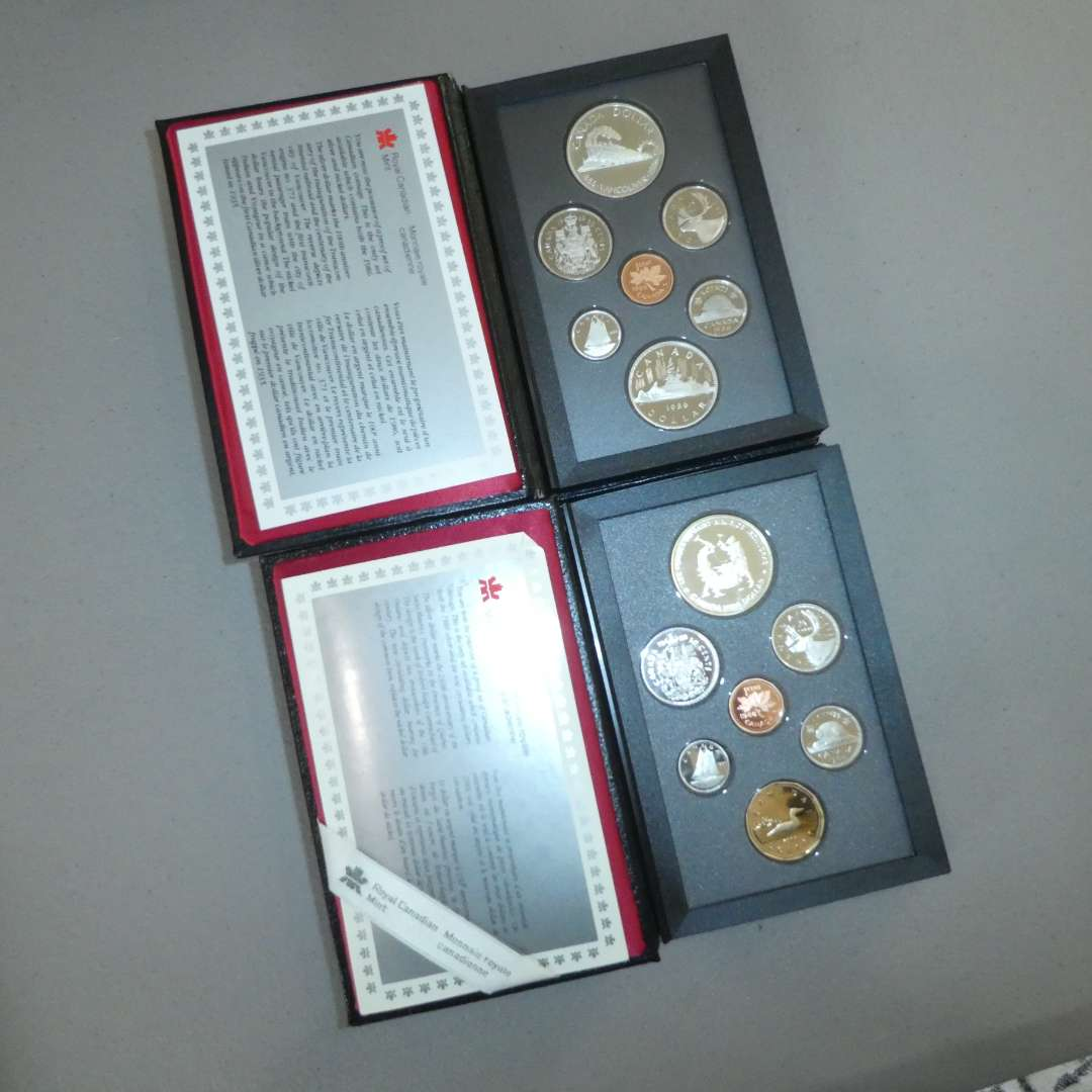 Lot # 45 -1986 and 1988  - Royal Canadian Mint - 7 pc Proof Set w/ Silver Dollar (main image)