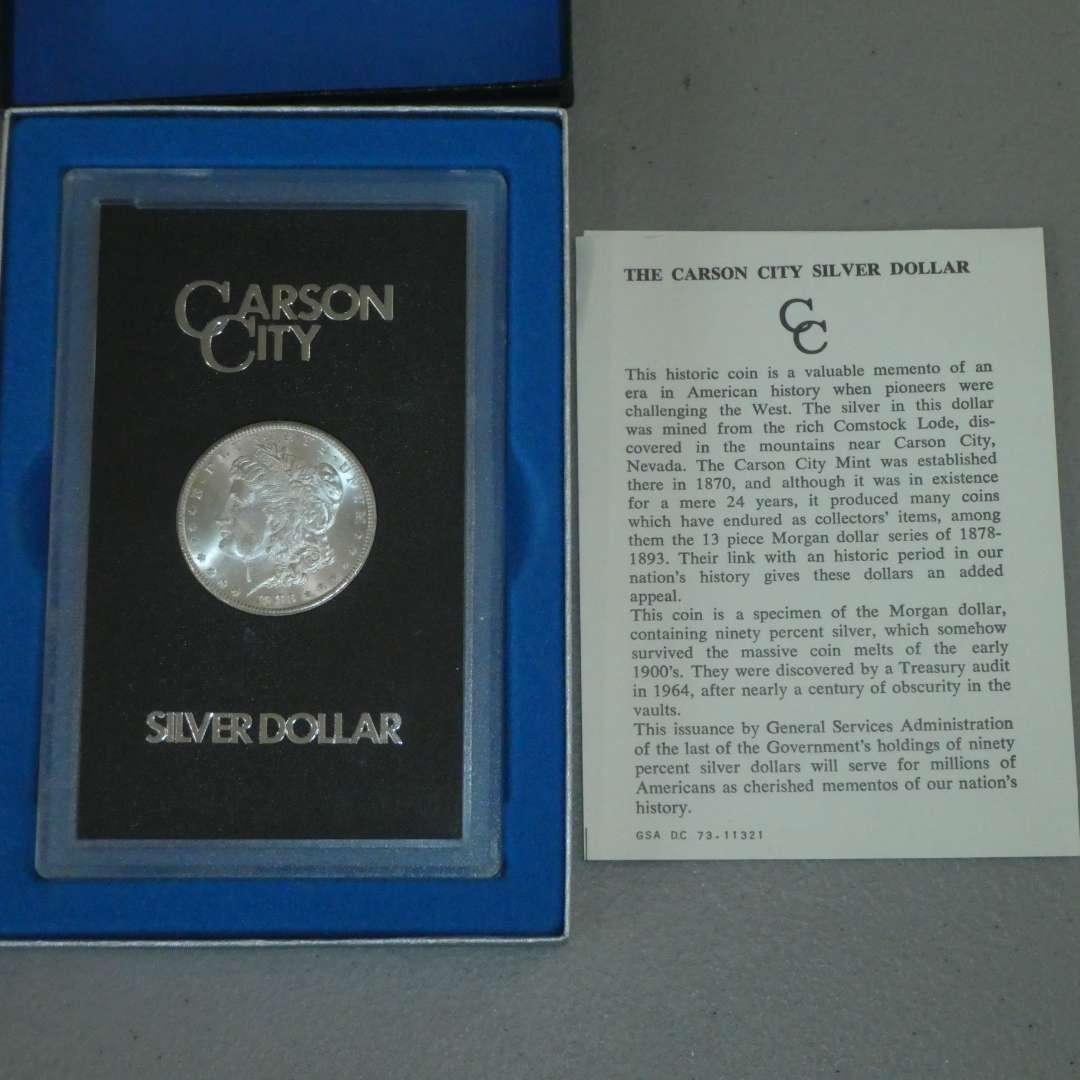 Lot # 47 - 1883 - US Mint - Carson City Morgan Silver Dollar - Uncirculated w/ Case - Rare (main image)