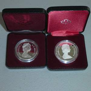 Lot # 52 - 1989 - Royal Canadian Mint - Silver Dollar Proof - Flueve MacKenzie River, 1982 - Royal Canadian Mint - Silver Dollar