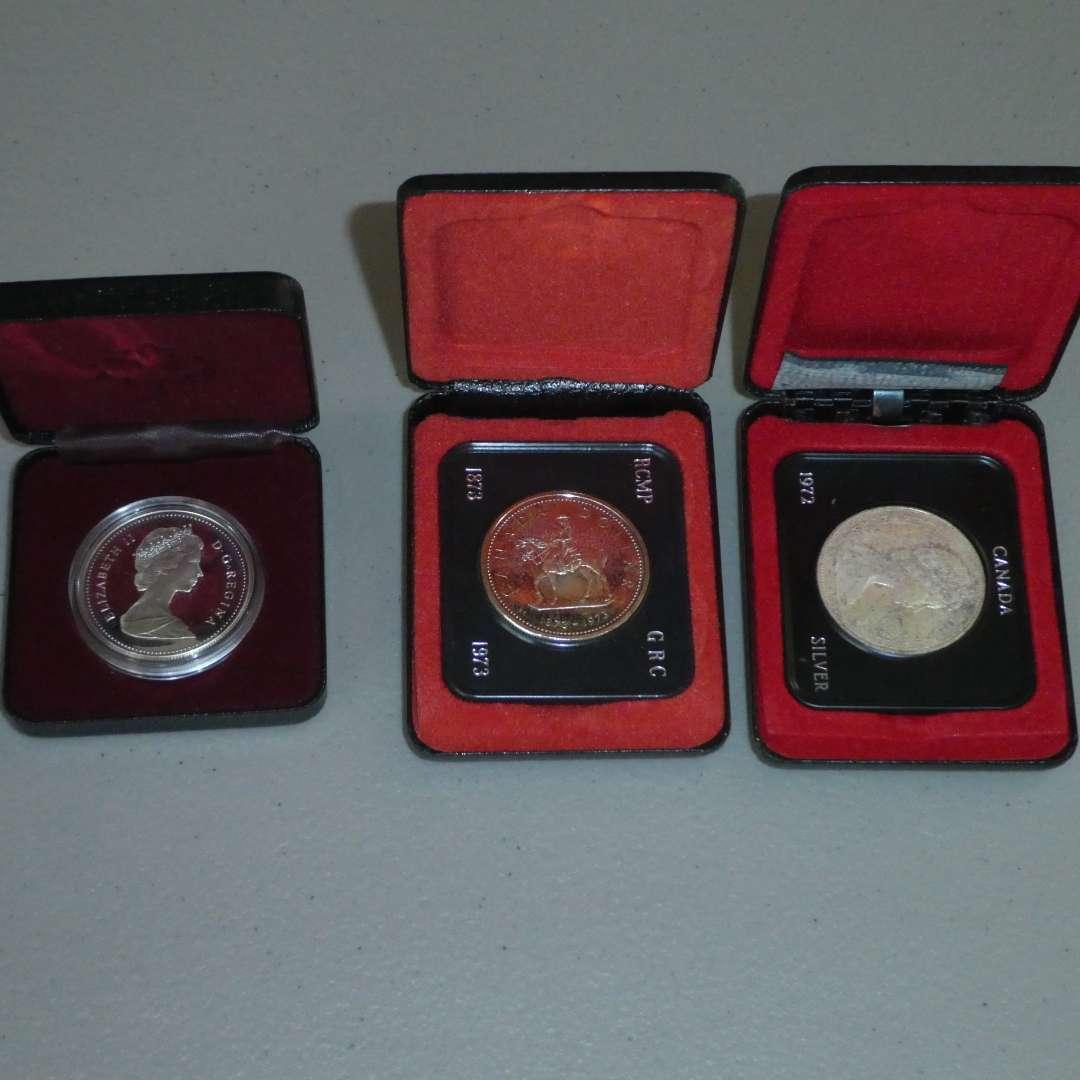 Lot # 53 -  1989 - Royal Canadian Mint - Silver Dollar Proof - 1965 & 1973 Royal Canadian Mints (See Description) (main image)