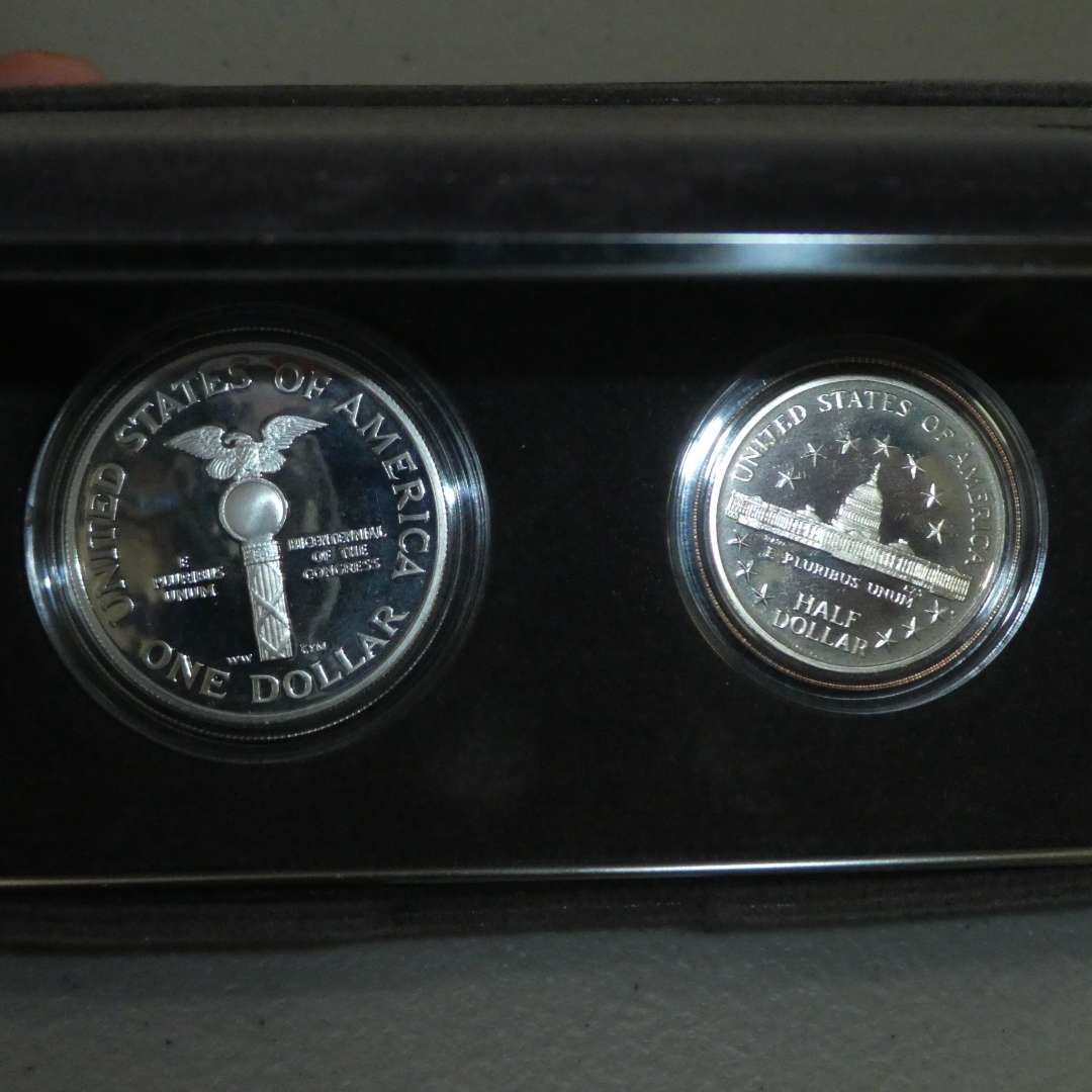 Lot # 58 -1989 - United States Congressional Coins - 2 Coin Proof Set (silver dollar, half dollar)  (main image)
