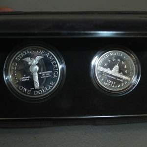 Lot # 58 -1989 - United States Congressional Coins - 2 Coin Proof Set (silver dollar, half dollar)