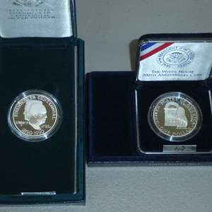 Lot # 60 -1992-White House 200th Anniversary Coin - Proof Silver Dollar,1990-United States Eisenhower Centennial Silver $ Proof