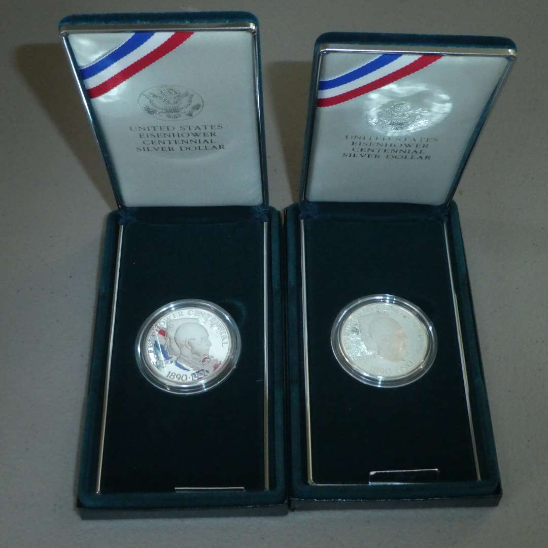 Lot # 61 - Two 1990 - United States Eisenhower Centennial Silver Dollar - Proof (main image)