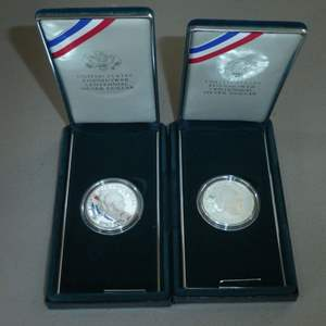 Lot # 61 - Two 1990 - United States Eisenhower Centennial Silver Dollar - Proof