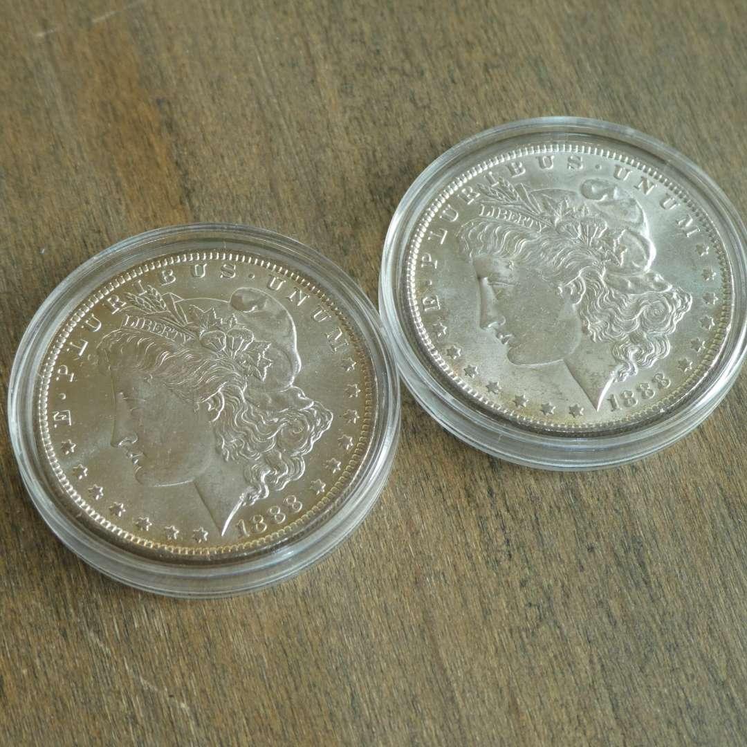 Lot # 69 - 1888 and 1888-O, US Mint Morgan Silver Dollars (main image)