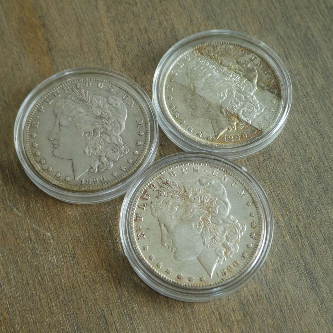 Lot # 72 - 1890, 1890-O, and 1890-S Morgan Silver Dollars (main image)
