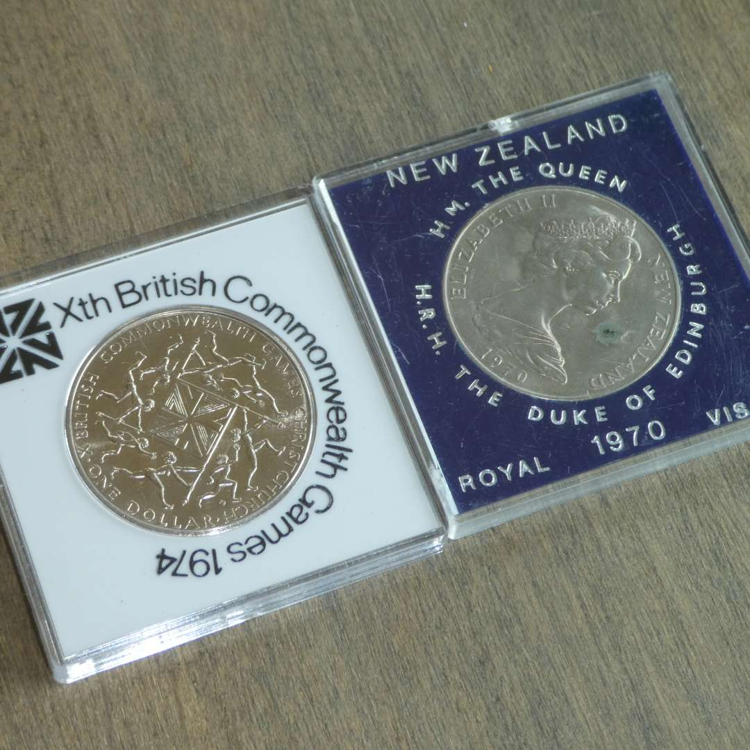 Lot # 105 - 1970 New Zealand Queen/Mt Cook - Royal Visit,1974 British Commonwealth Games - Proof Dollar  (main image)