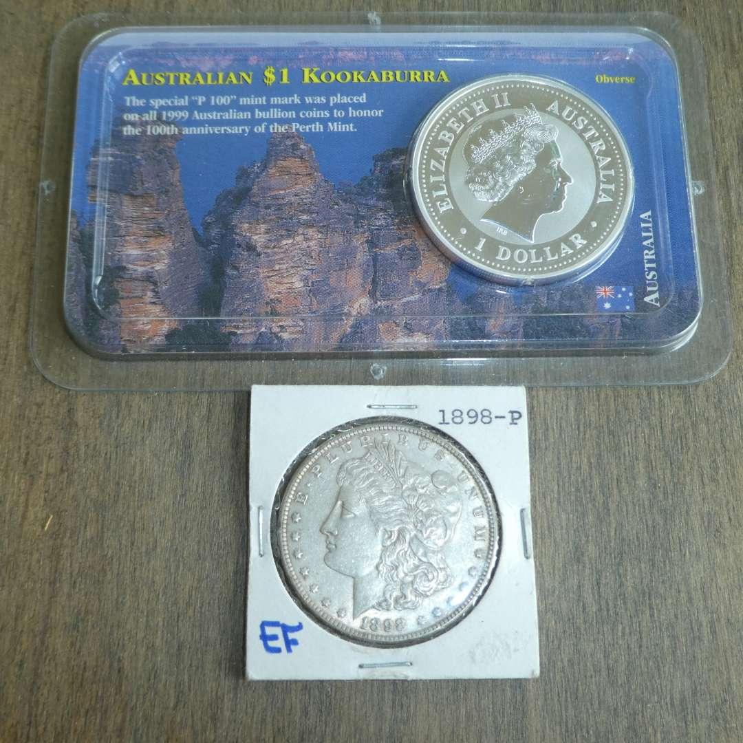 Lot # 106 -1898 Morgan Silver Dollar & 1999 - Australian Silver Dollar w/ Kookaburra (main image)