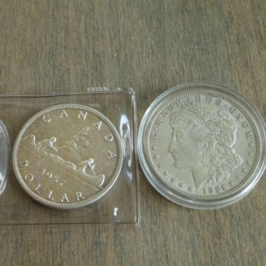 Lot # 107 - 1921 Morgan Silver Dollar, 1957 Canadian Silver Dollar  (main image)