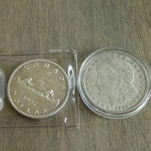 Lot # 107 - 1921 Morgan Silver Dollar, 1957 Canadian Silver Dollar