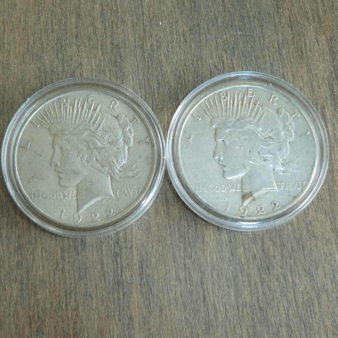 Lot # 108 - 1922 and 1922-S Liberty Peace Silver Dollars (main image)