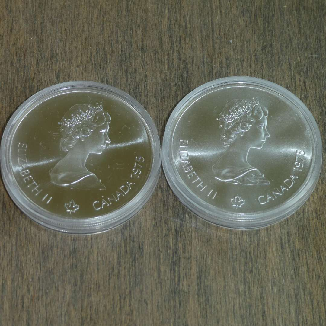 Lot # 110 -1975 Royal Canadian Mint - 5 Dollar Silver Olympia Coin - Montreal (1976) - 2 coins - Proof (main image)