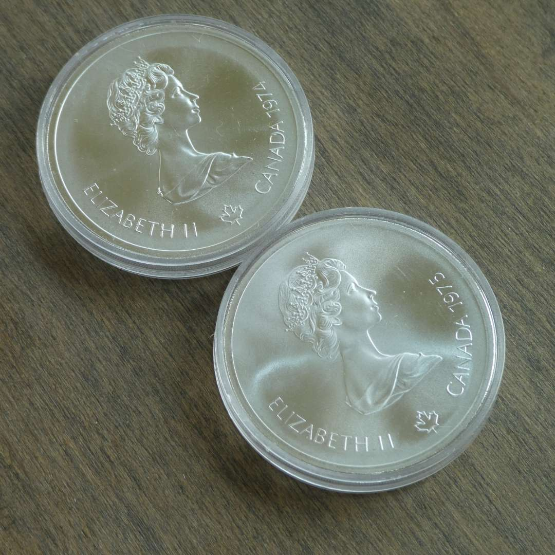 Lot # 111 - 1974 and 1975 Royal Canadian Mint - 10 Dollar Silver Olympia Coin - Montreal (1976) - 2 coins - Proof (main image)