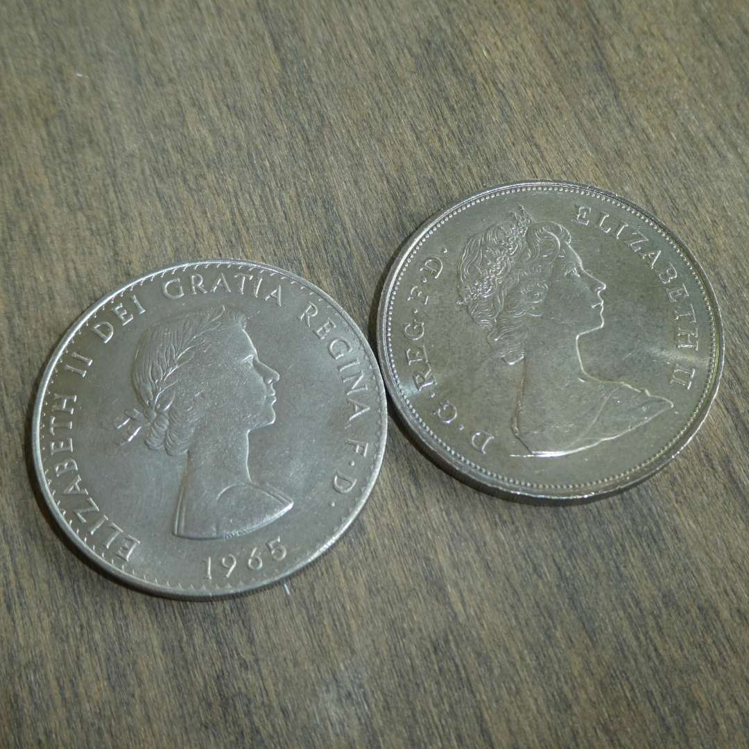 Lot # 112 -1981 UK Silver Coin - Prince of Wales, 1965 UK Silver Coin (Elizabeth and Churchill) (main image)