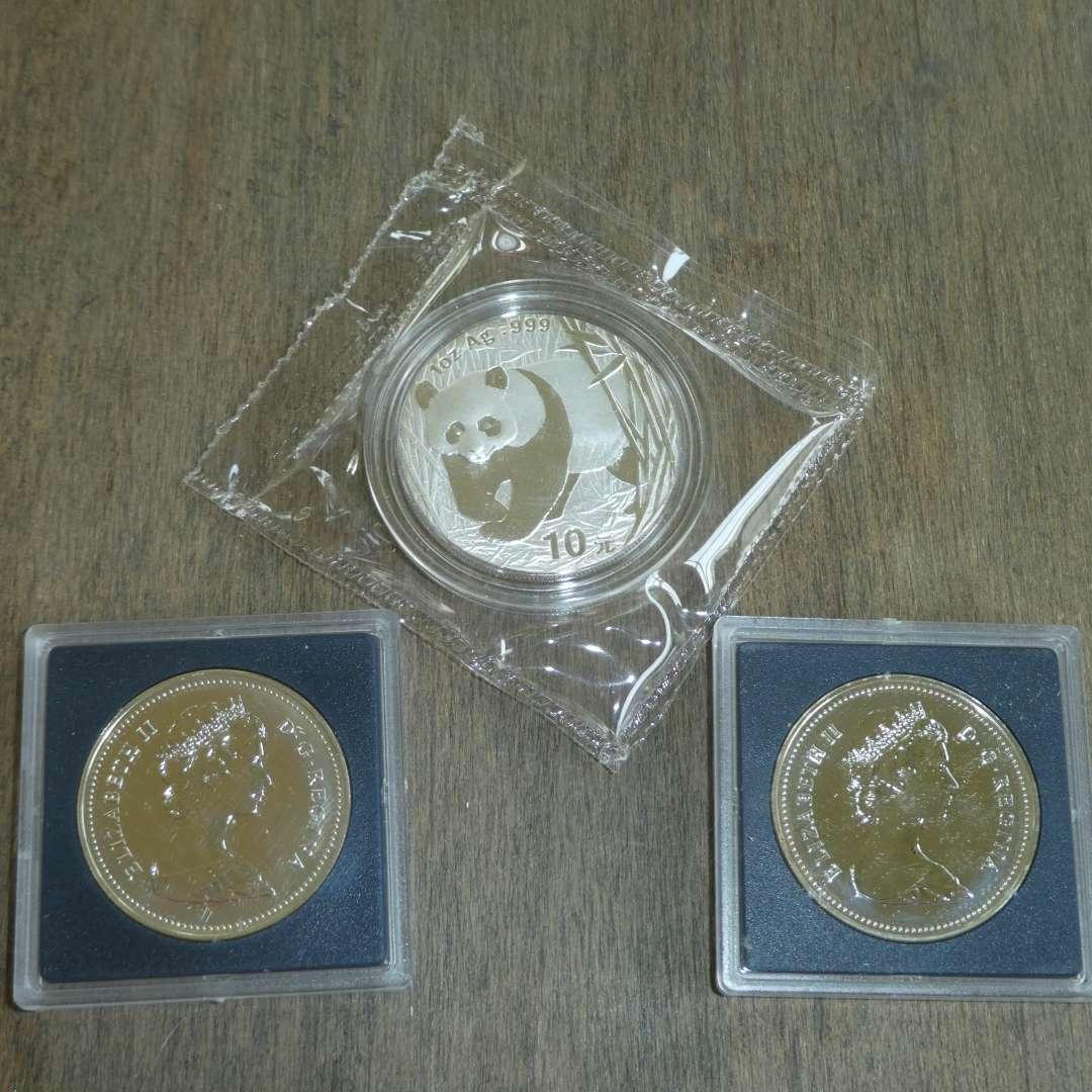 Lot # 116 -1982 - Canadian Silver Dollar (Texas),1981 - Canadian Silver Dollar,2001 - Silver Panda / Chinese Building (main image)