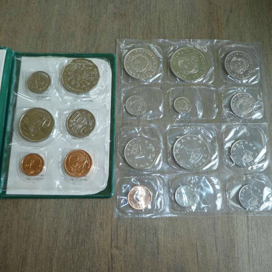 Lot # 117 -1982 Australian Royal Mint - XII Commonwealth - 6 pc set, 1980 Zimbabwe Set - 6 pc, 1972 Costa Rica Set (main image)