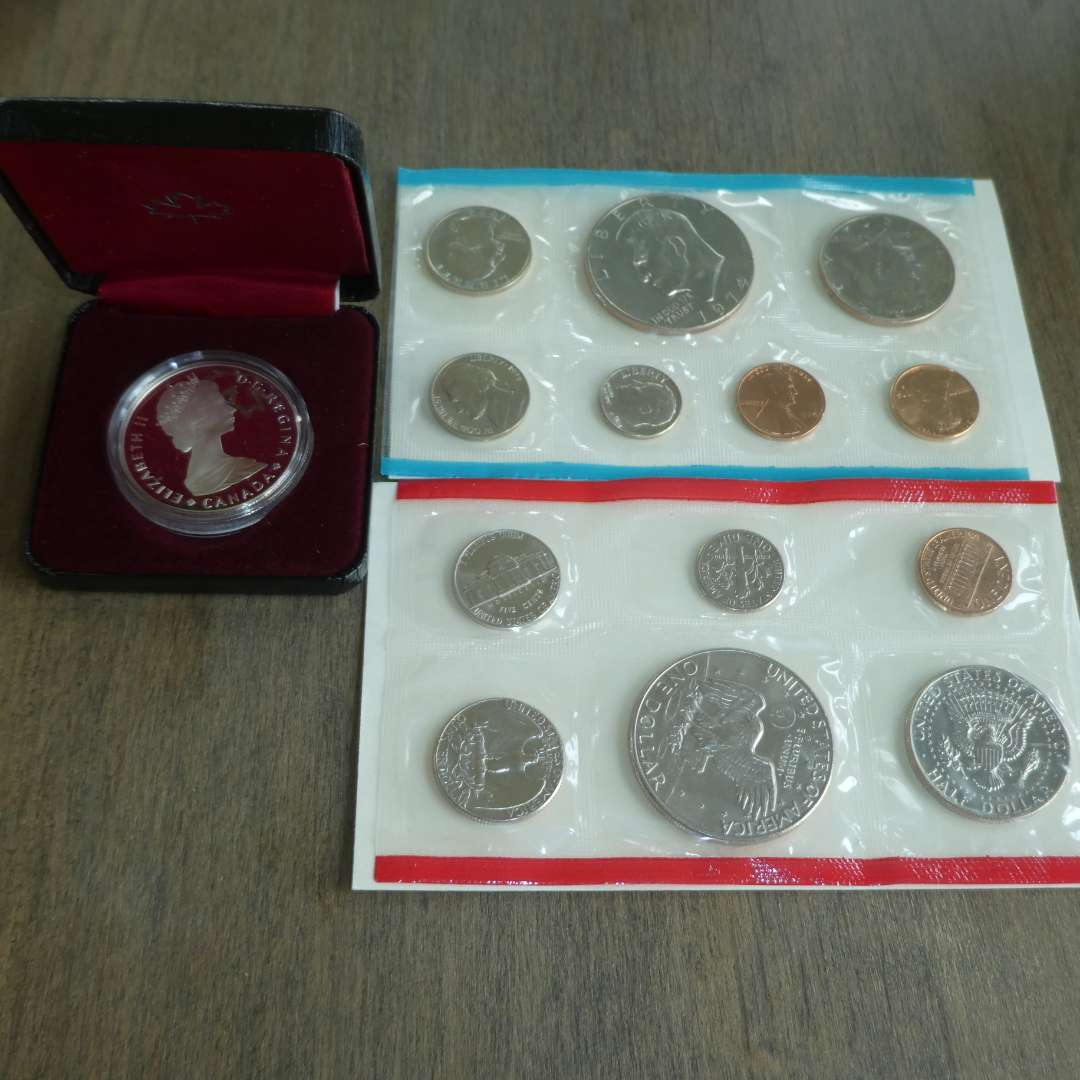 Lot # 118 - 1974, 1974-D US Mint - Uncirculated Coin Set with Dollar,1985 Royal Canadian Mint - Silver Dollar Proof (1)  (main image)
