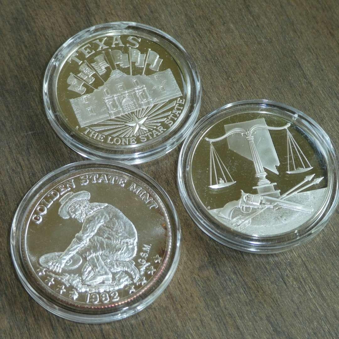 Lot # 119 - Silver Coins - Texas, California, Nevada (main image)