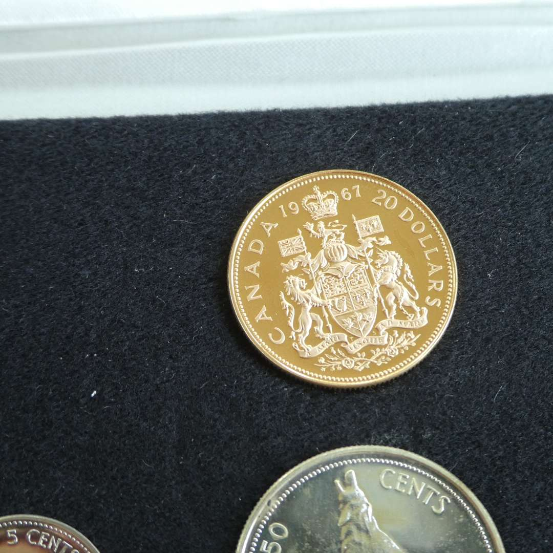Lot # 122 - 1967 - Canadian Centennial Proof Like Set w/ Gold (20d) (7pc) GOLD Coin Weight is 18.27 gr 90% gold (main image)