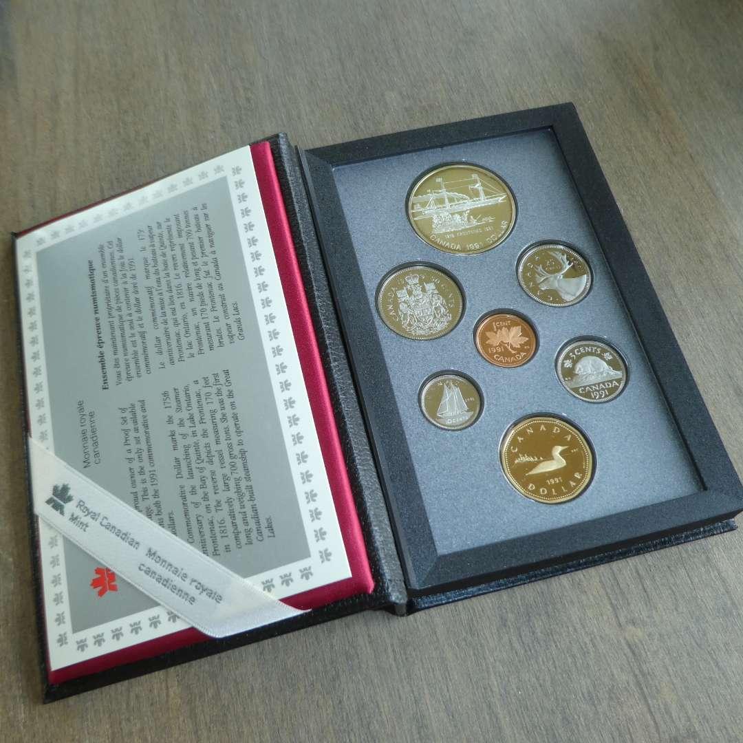 Lot # 124 - 1991 - Royal Canadian Mint - 7 pc Proof Set w/ Silver Dollar (main image)