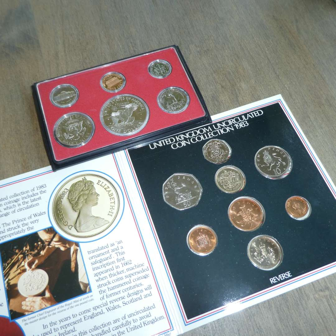 Lot # 128 - 1973 US Proof Set - 6 pc, 1983 - UK Uncirculated Coin Collection in Folder (main image)