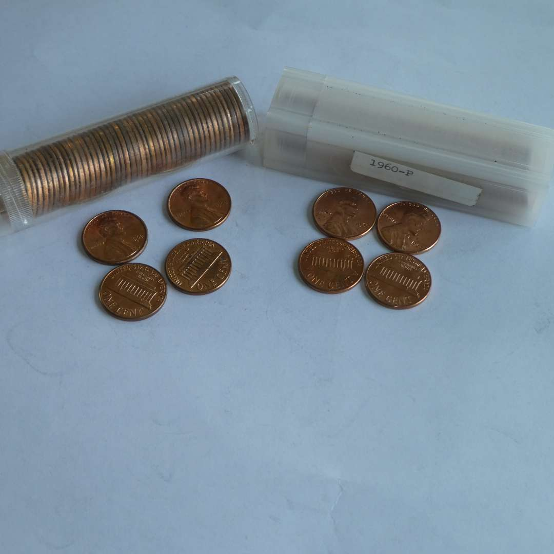 Lot # 138 - 1960 - US Penny -(50 count) in Tube, 1969-D US Pennies - Tube (49 count) (main image)