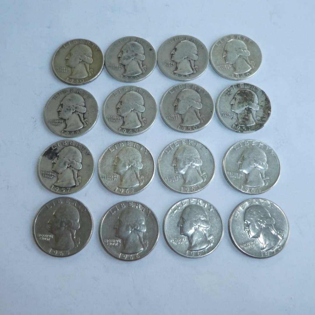 Lot # 139 - Assorted US Quarters: 1940, 44, 45, 46, 48, 49, 50, 51, 57, 62 --- 67, 70 (main image)