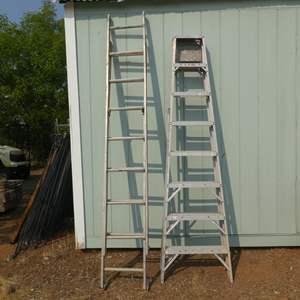 Lot # 54 - Werner 16' Extension Ladder & Werner 8' Ladder