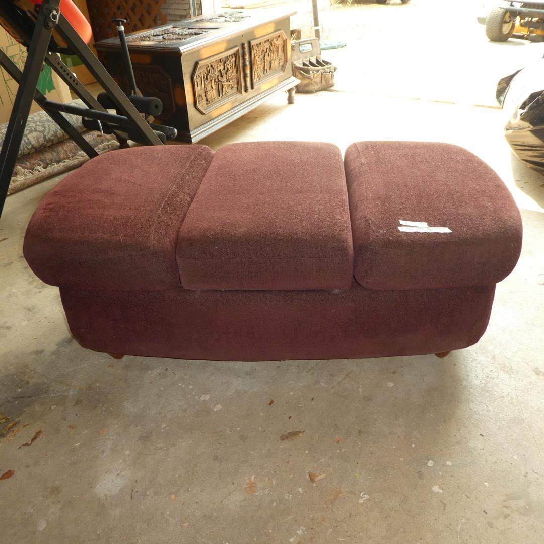 Lot # 63 - Upholstered Ottoman w/Middle Storage Compartment (main image)