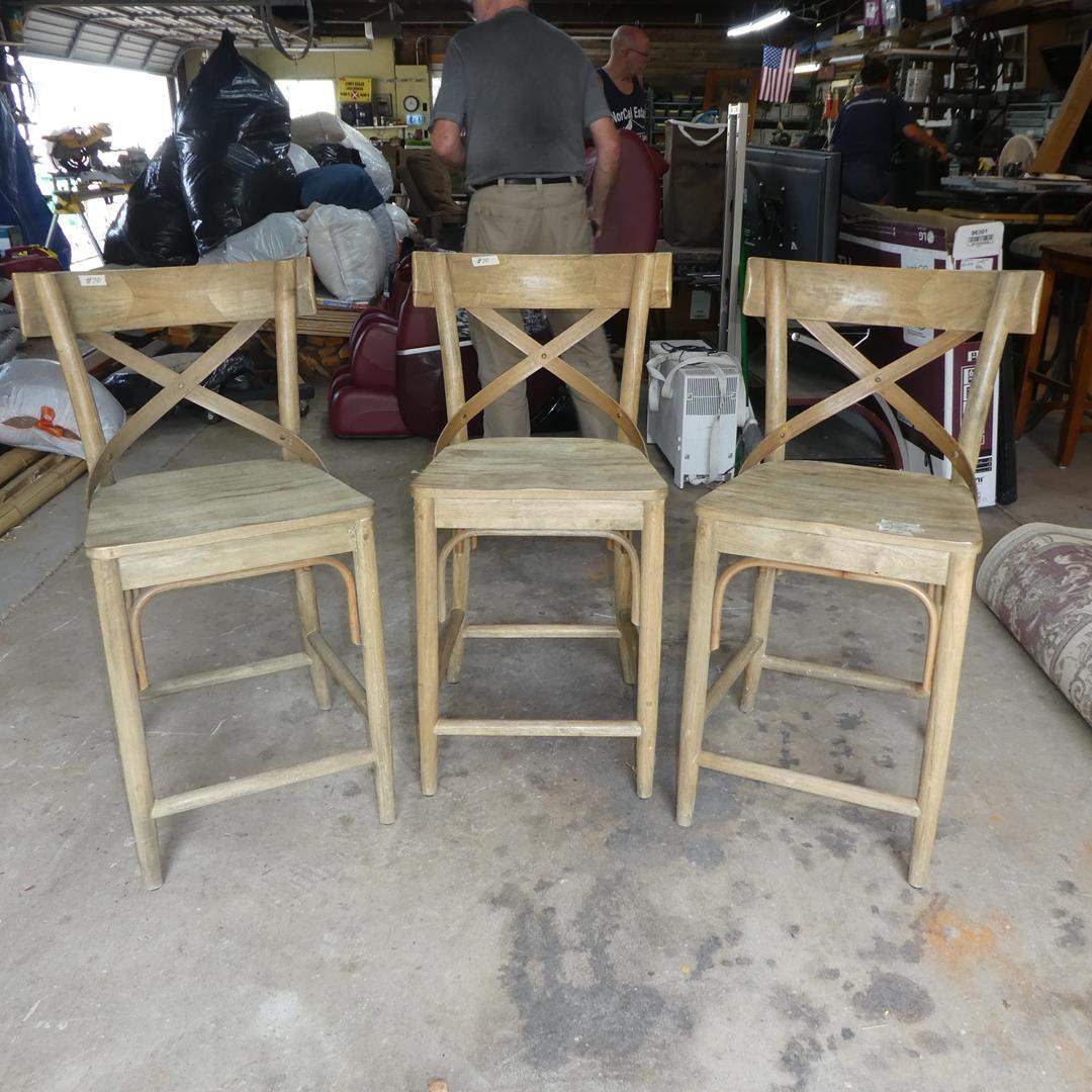 Lot # 70 - Three World Market Wooden Bar Stools (main image)