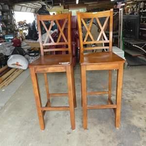 Lot # 71 - Pair Wooden Bar Stools