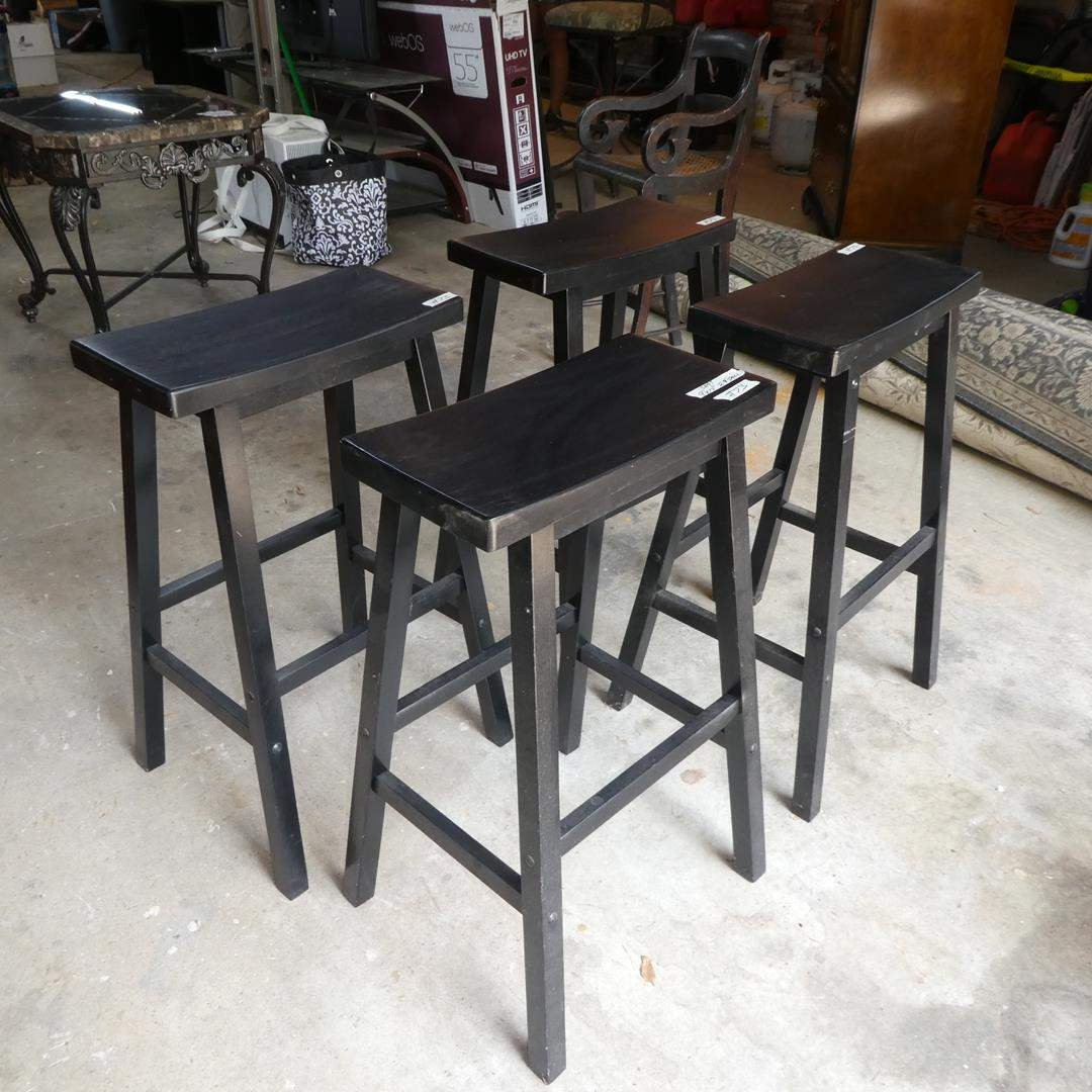 Lot # 73 - Four Wooden Backless Bar Stools - Made in Thailand (main image)