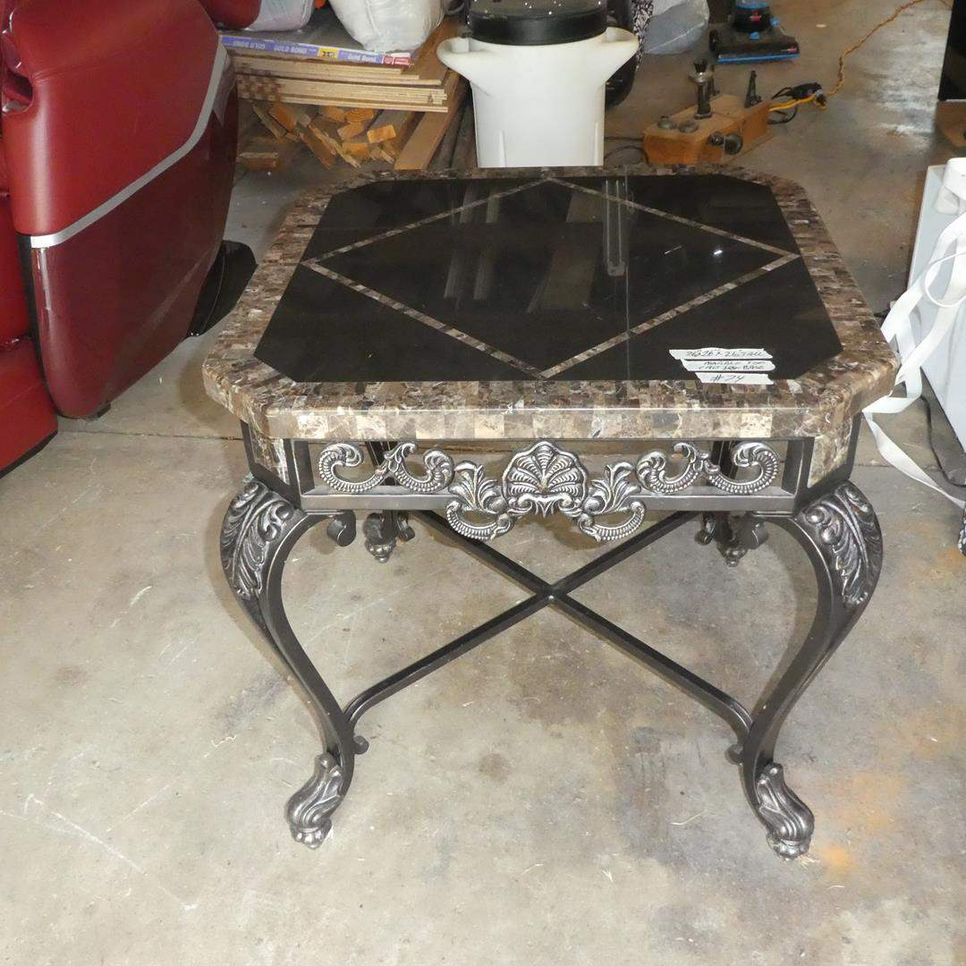Lot # 74 - Marble Top Cast Iron Base End Table (main image)