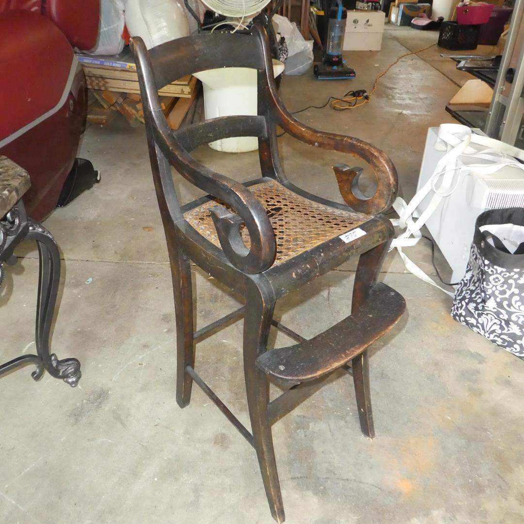 Lot # 75 - Vintage Cane Seat Toddlers High Chair (main image)