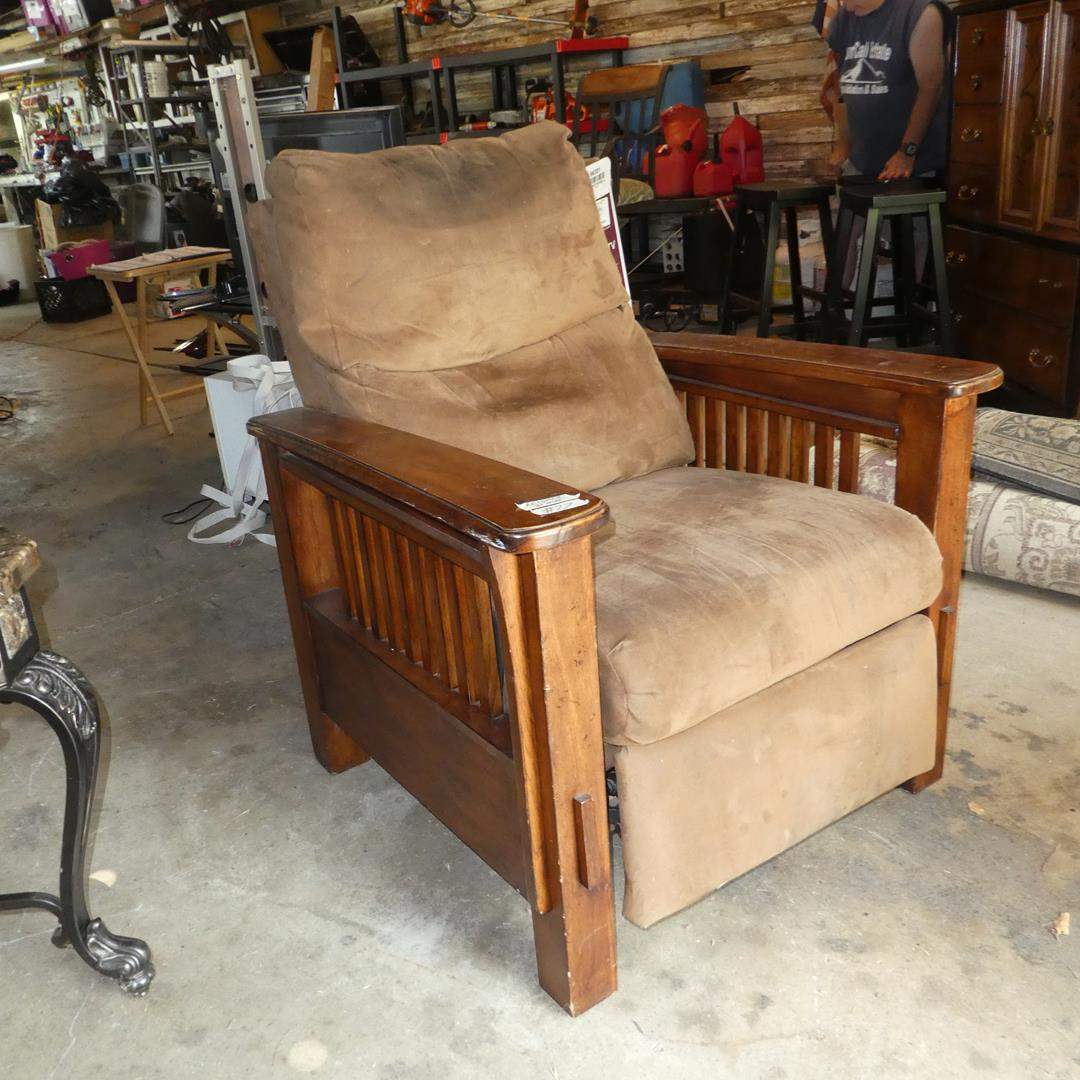 Lot # 77 - Vintage Upholstered Wooden Framed Mission Style Reclining Arm Chair (main image)