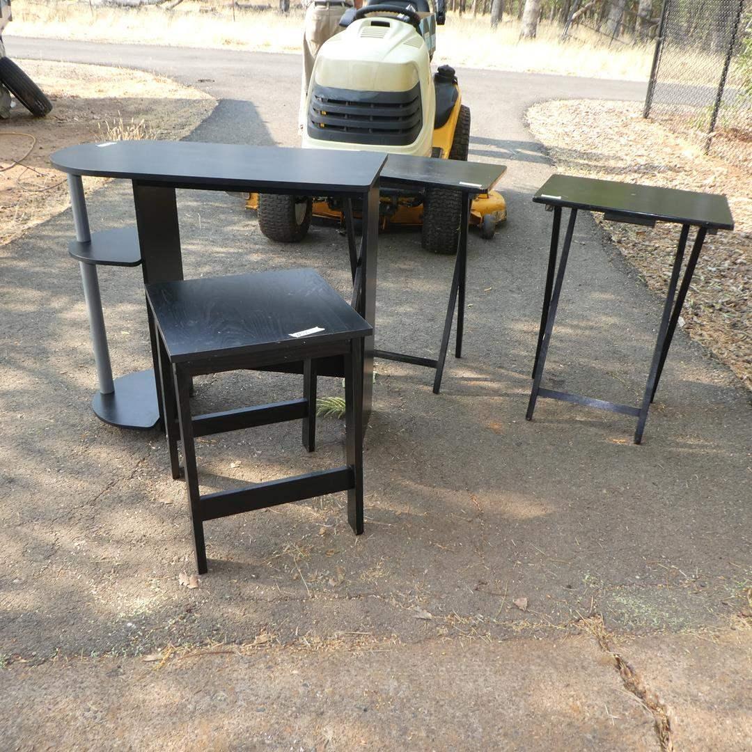 Lot # 76 - Children's Desk, Small Table & Pair Folding TV Trays (main image)