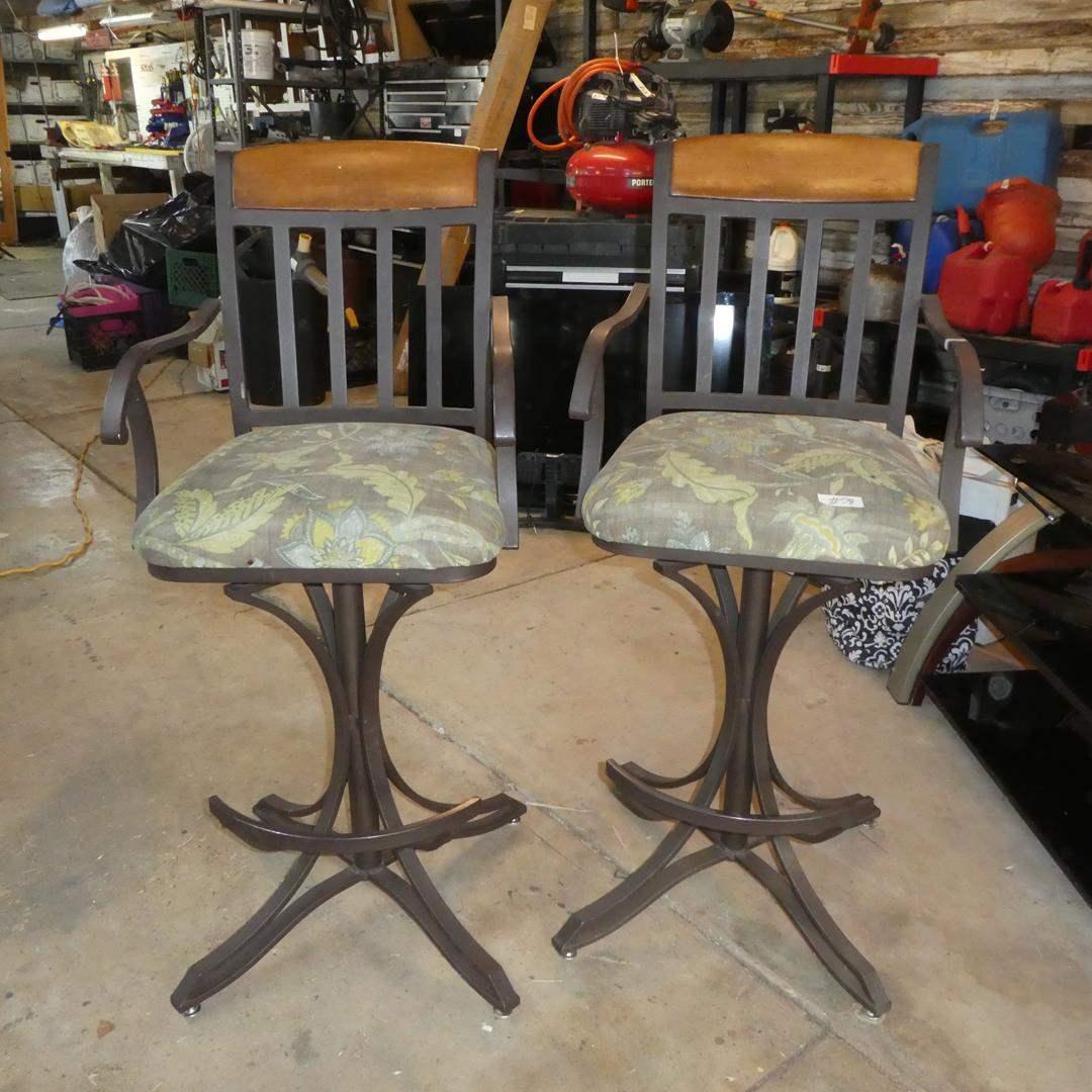 Lot # 78 - Pair Cast Iron Upholstered Seats Bar Stools (main image)