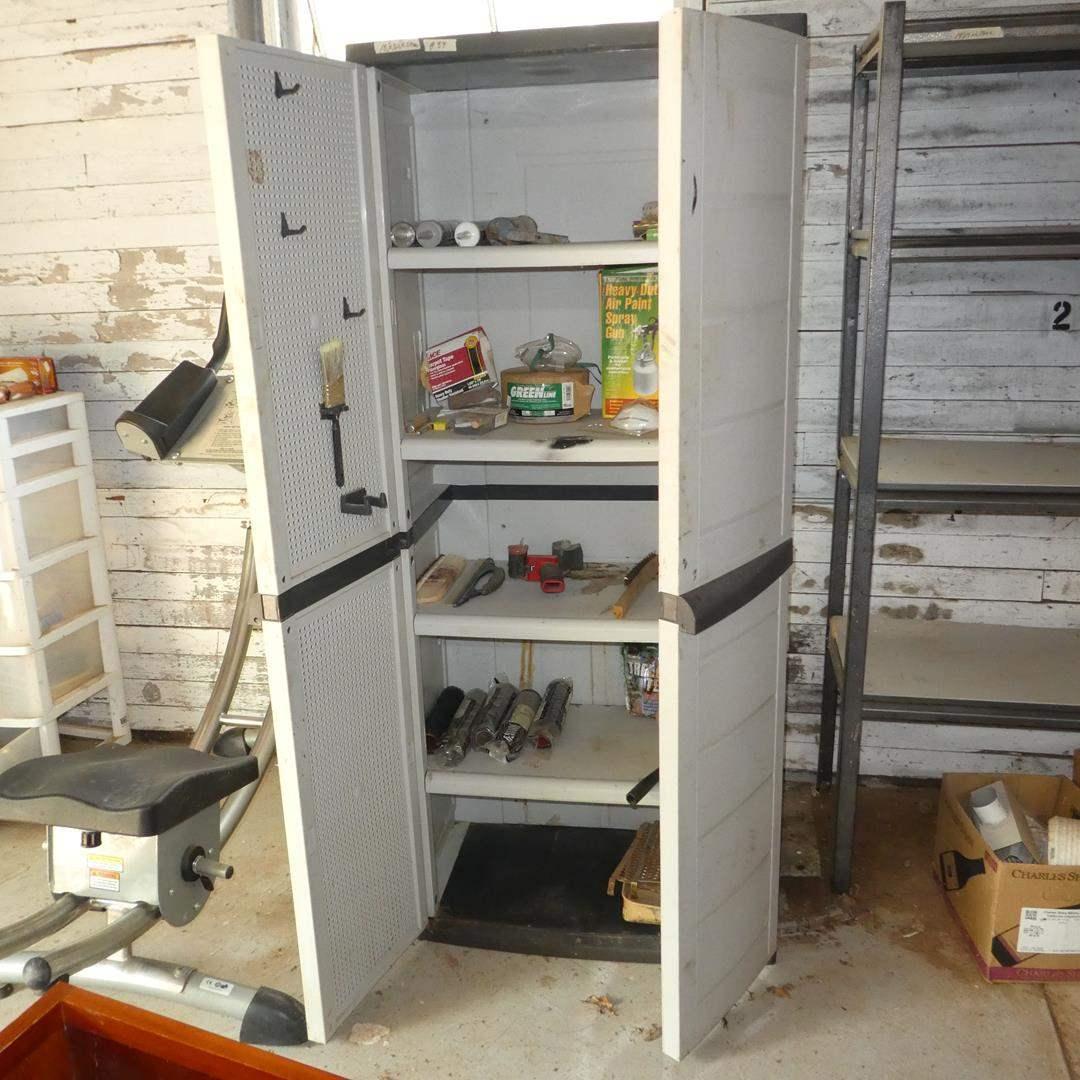 Lot # 89 - Garage Plastic Storage Cabinet & Contents (main image)